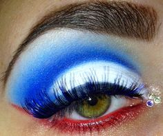 4th of July inspired red, white and blue eye make-up with a trio of crystal accents.
