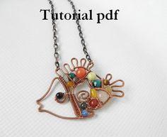Wire wrap Tutorial, Mosaic pendant  Rainbow fish  for intermediate