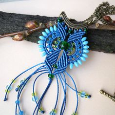 Bohemian blue green necklace micro macrame by MartaJewelry on Etsy
