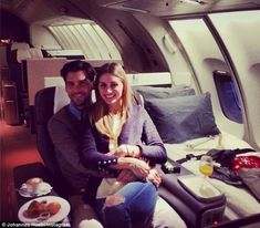this will be us <3 Jet setters: Johannes recently shared this picture of the happy couple enjoying a luxurious flight together