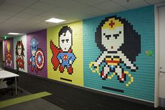 Love the transformation with simple sticky notes. Boring plain walls to empowering spaces for employees. #Great #FengShui