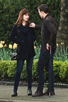 Dakota Johnson and Jamie Dornan filming Fifty Shades Darker.