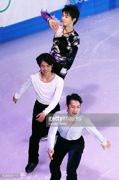 SOCHI Russia Japanese figure skaters Yuzuru Hanyu Tatsuki Machida and Daisuke Takahashi perform during an exhibition gala on Feb 22 at the Sochi...