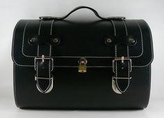 Leather Top Case Roll Bag Piaggio Vespa Scooter, Vintage Black