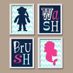 Captivating Mermaid Pirate BATHROOM Wall Art, Canvas Or Prints, Brother Sister BATHROOM,  Hot Pink Aqua Gray, Chevron Polka Dots, Bathroom Rules,Set Of 4