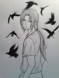 They fucking put 'crows' as caption for this pic.No bitch get ur fact right.This is Uchiha Itachi,the great man from Naruto<<Darn straight XD Naruto Drawings, Naruto Sketch, Anime Sketch, Cool Drawings, Amazing Drawings, Anime Naruto, Art Naruto, Konoha Naruto, Itachi Uchiha