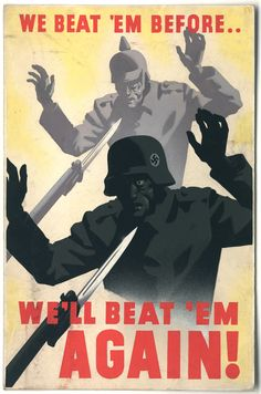 War propaganda poster. Coming out of WWI into WWII.