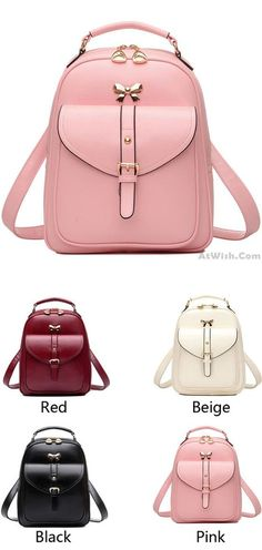 Cute Girls' Bow Buckle Student Bag Simple PU College Backpack for big sale! #bow #student #bag #pu #college #backpack