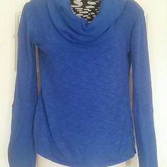 Bright blue shawl/ cowl turtle neck Beautiful blue shawl/cowl turtle neck. Thin 70%cotton 30%poly. Very comfortable shirt for layering. Sleeves can roll up or stay long. Shirt is regular waist length. Also see bundle of three shirts like this different colors. Tops Tees - Long Sleeve