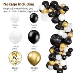 black white latex balloon garland arch kid metal gold confetti Wedding Party Balloons Baby Shower Supplies Backdrop Decor - New Site Black And Gold Balloons, White Balloons, Confetti Balloons, Gold Confetti, Gold Birthday Party, Baby First Birthday, Birthday Balloons, Birthday Parties, Balloon Arch Diy