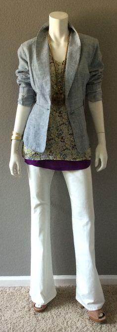 Daily Look: CAbi Spring '15 White Wide Leg Jean, Scatter Print Cami, Scoop Tank, Beachwalk Blazer, Hammered Cuff & statement necklace.#springfashion #cabiclothing