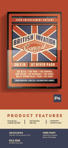 British Invasion Concert Flyer Template PSD. Download here: http://graphicriver.net/item/british-invasion-concert-flyer/16892014?ref=ksioks