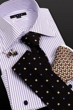 パープルストライプのダブルカフスシャツが目を惹く⇒ http://ozie.jp/1QnVveN