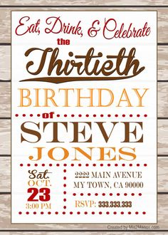 EAT, DRINK, and CELEBRATE Masculine Birthday Invitation Adult Custom by M2MPartyDesigns