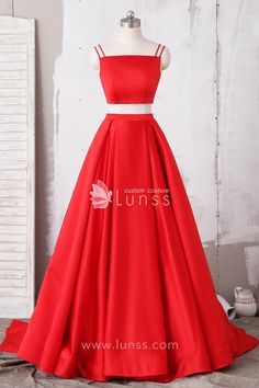3cef83d8d0 Classic solid red two-piece prom dress is made of satin fabric with double  straps. Lunss