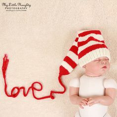 Nouveau   né photographie printemps accessoires photo bébé amour chapeau crochet fil de coton blanc rouge rayé longue queue chapeau atrezo para fotografia dans Chapeaux et Casquettes de Produits pour bébés sur AliExpress.com | Alibaba Group
