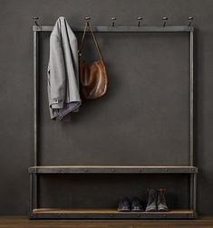American French wrought iron , wrought iron coat rack Huanxie chair combination shoe hanger floor- do the old clothes rack
