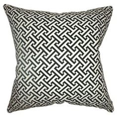 """Cotton pillow with a black basketweave motif and feather-down fill. Made in the USA.  Product: PillowConstruction Material: Cotton cover and down fillColor: BlackFeatures:  Insert includedMade in the USA Dimensions: 18"""" x 18"""""""