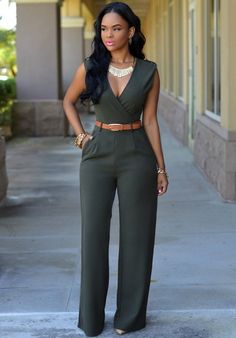 2016 women loose slim casual Jumpsuit with belt Deep V-neck top straight romper Item Type: Jumpsuits & Rompers Gender: Women Fit Type: Straight Decoration: Sashes Pattern Type: Solid Style: Fashion Ty