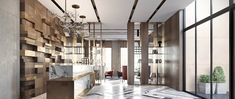 Located in Moscow, this bright modern lobby was perfectly designed by local MOPS studio in order to create a unique self-contained space, stylistically relat Lobby Interior, Interior Architecture, Commercial Design, Commercial Interiors, Adobe Portfolio, Unique Floor Lamps, Kitchen Floor Plans, Lobby Design, Interior Decorating