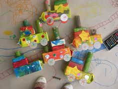 Another crafty idea for the kids: Decorate trains made out of cereal and milk boxes.