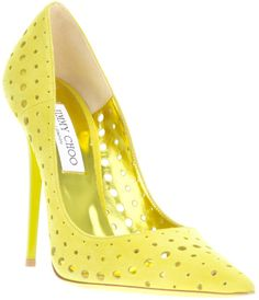 #Jimmy Choo Yellow Perforated Pumps