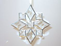 Stained Glass Star Suncatcher Beveled Star Snowflake Christmas   Etsy Making Stained Glass, Stained Glass Christmas, Stained Glass Projects, Glass Christmas Ornaments, Stained Glass Art, Beveled Glass, Mosaic Glass, Panel Quilts, Quilt Blocks