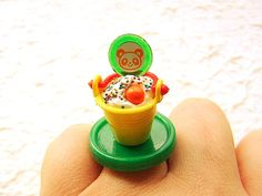 Kawaii Food Ring Ice Cream Sundae Candy Yellow by SouZouCreations, $12.50