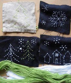 holiday sashiko embroidery