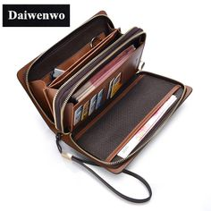 New Brands Clutch Bag Men Wallets Black Brown Luxury Large Capacity Gift for Male Double Zipper Long Wallet Handbag Purse -- Details can be found by clicking on the image.