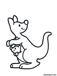 Free Printable Animal Kangaroo with baby coloring pages for kids. Print out baby kangaroo australia coloring pages for preschool