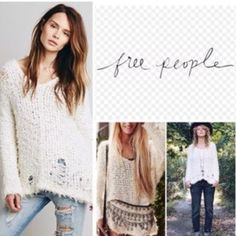 FREE PEOPLE shaggy shredded holey sweater Ivory colored sweater with shreds on the bottom. Very soft furry knit material. Only worn a few times! Free People Sweaters Crew & Scoop Necks