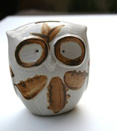 Groovy 60s Clay  Owl Piggy Bank Hand Painted Big Expressive Crossed Eyes Feathers Wings Coffee Brown & Stone White FREE Ship as 2nd Item. $29.00, via Etsy.