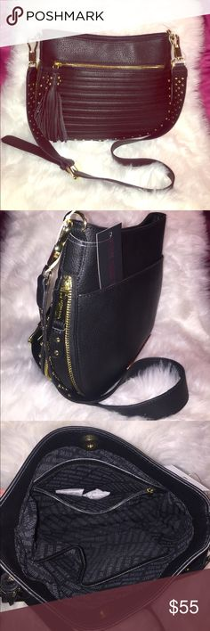 💞👜Steve Madden Bemmie cross- body bag👜💞 BEST OFFER👍👜Fully function with magnetic top closure. Inside one zipped pocket and two slide pocket.  Outer full front zipped pocket. Outer back full pocket. Studded design. Adjustable and removable strap. Gold plated hardware. Material: Body and trim 100% polyurethane and lining 100% polyester. Light weight and durable. Great and perfect size  for daily go errand. Check out my closet for more brand new items in negotiable prices. Steve Madden…