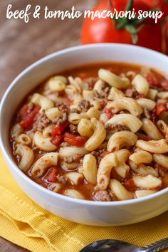 Beef & Tomato Macaroni Soup - a hearty soup full of hamburger, tomatoes, macaroni, and more! Worcestershire sauce combined with brown sugar makes for a perfectly sweet and savory flavor that is irresistible! Macaroni Soup Recipes, Hamburger Macaroni Soup, Hamburger Casserole, Chicken Casserole, Casserole Recipes, Cooking Recipes, Healthy Recipes, Ww Recipes, Recipies