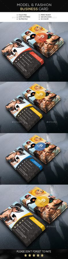 Model & Fashion Business Card Template #design Download: http://graphicriver.net/item/model-fashion-business-card/12333620?ref=ksioks