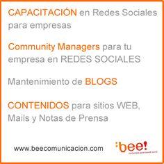 Qué hacemos en Bee! Comunicacion #Capacitacion #CommunityManagers #CM #Blogs #Contenidos