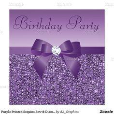 Purple Printed Sequins Bow & Diamond Birthday 5.25x5.25 Square Paper Invitation Card