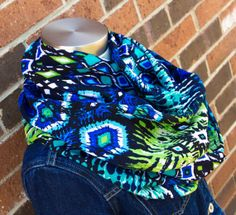 Green, Blue & Aqua Ethnic Rayon Challis Spring and Summer Infinity Scarf