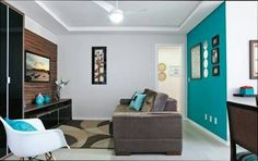 Room Interior, Interior Design, Interior Colors, Living Room Turquoise, Room Paint, Colorful Interiors, Living Area, Room Decor, Colours