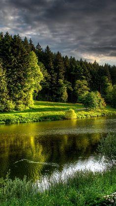 Download Wallpaper 720x1280 River, Coast, Grass, Bench, Summer, Beautiful, Calm Samsung Galaxy S3 HD Background