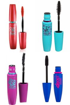 Maybelline mascara, falsies volume express>>>>> any of these will do! The red is my personal fav, then the dark blue, then the light blue. I didn't care for the purple one, but mascara is one of those things that's personal preference etc. Makeup List, Hair And Makeup Tips, Makeup Goals, Love Makeup, Drugstore Mascara, Maybelline Mascara, Makeup Brands, Best Makeup Products, Beauty Products