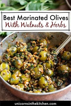 Marinated olives made Persian style! Try delicious olives marinated with walnuts, pomegranate molasses and herbs - a fantastic combination! Side Dishes Easy, Vegetable Side Dishes, Side Dish Recipes, Chicken And Beef Recipe, Chicken With Olives, Beef Olives, Chicken Recipes, Vegetarian Recipes Easy, Beef Recipes