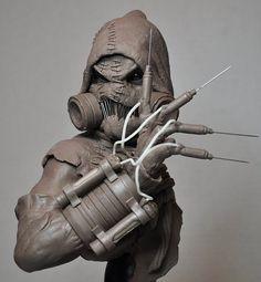 Batman Arkham Asylum Scarecrow Bust Sculpt 1 by AntWatkins on DeviantArt