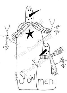 Free Printable Primitive Stitchery Patterns | Free Goods - Free Patterns - Snowmen and Winter - Free Winter Snowman ...
