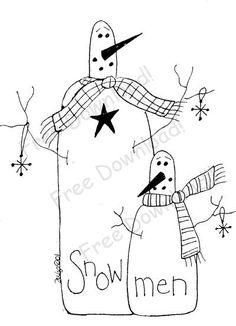 Free Printable Primitive Stitchery Patterns   Free Goods - Free Patterns - Snowmen and Winter - Free Winter Snowman ...