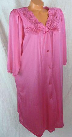 Womens Vintage Shadowline Medium Pink Robe Lacey Nightgown Embroidery Yoke #Shadowline