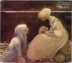 Illustrations for 'Agneta and the Sea King' by Swedish Illustrator John Bauer, circa 1910 John Bauer, Fairytale Art, Merman, Children's Book Illustration, Love Art, Golden Age, Troll, Illustrators, Fantasy Art