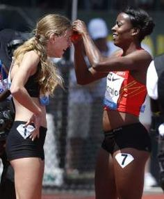 From the 2013 Prefontaine Classic, Alysia Montano pinned her iconic flower onto Mary Cain following the 800m race. Cain became the first female high schooler to break 2:00 in the 800.