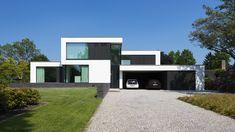 Woonhuis Twello Modern Small House Design, Modern Villa Design, House Front Design, Modern House Plans, Modern Architecture Design, Facade Design, Home Building Design, Concrete Houses, Facade House